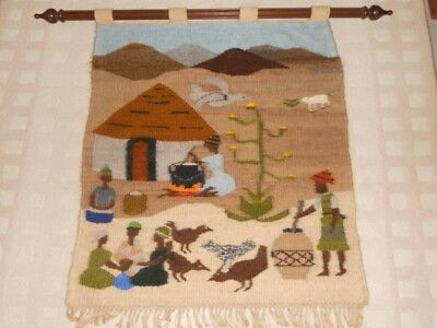 South African Original Wall Tapestry By Royal Lesotho Pure Mohair By M. Matsoso.
