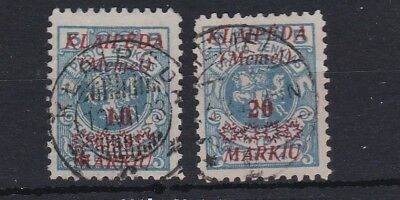 MEMEL Lithuanian Occup. (9a90) SG 12-13 -1923 10 & 20 in red opts - fine used