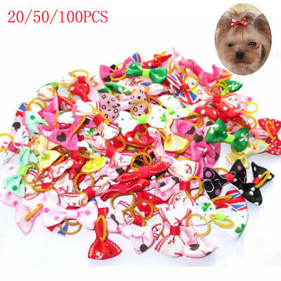 100pcs Dog Cat Puppy Hair Clips Hair Bows Tie Bowknot Hairpin Pet Grooming Decor