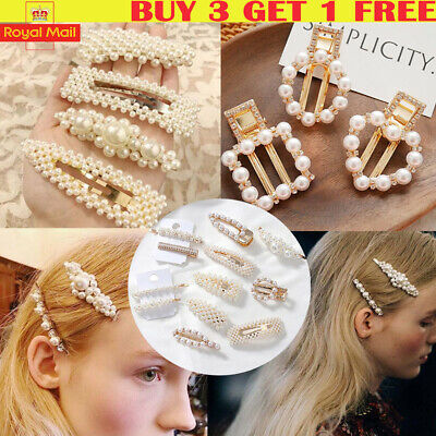 9c65b87641dda Women s Girls Pearl Hair Clip Gold Hairpin Slide Grips Barrette Hair  Accessories