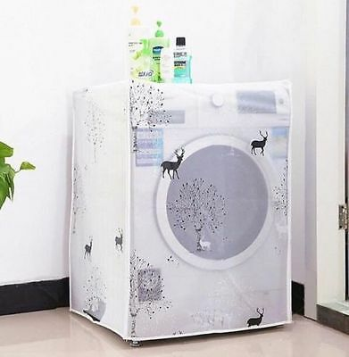Waterproof Washing Machine Zippered Top Front Dust Cover Guard Protection ♫