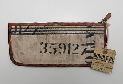d02b35b0aa NEW RALPH LAUREN RRL Double RL Leather Canvas Brown Work Large Pouch ...