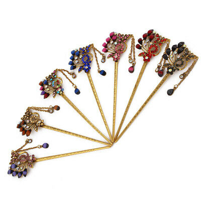 Chinese Style Metal Rhinestone Hair Stick Antique Tassel Floral Headwear Hairpin
