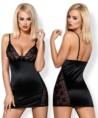 OBSESSIVE 846 Luxury Super Soft Decorative Satin Chemise and Matching Thong Set