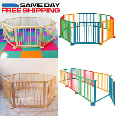 6/8 Panel Foldable Wooden Baby Playpen Indoor&Outdoor Kids Safety Play Fence DIY