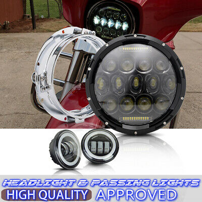 "7"" LED Headlight Passing Light For Harley Electra Glide Ultra Classic FLHTCU"