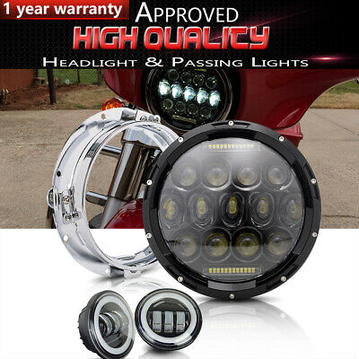 7'' LED Projector Headlight 4.5 Passing Lights Fit Harley Fatboy Flstn Deluxe