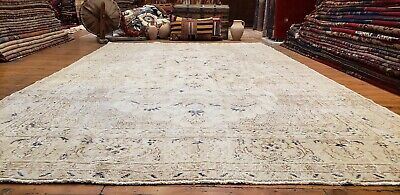 Primitive Late 1930's Antique  Wool Pile, Muted Dye Oushak Area Rug 7x11ft