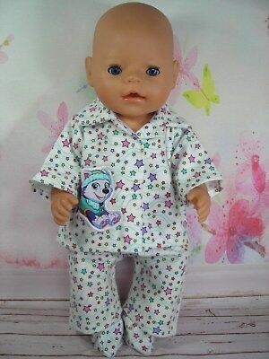 "Dolls clothes for 17"" Baby Born doll~PAW PATROL EVEREST WINTER PYJAMAS~BED SOCKS"