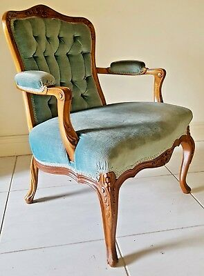 Louis XV French Provincial vintage style. Carved Mahogany Fauteuil Armchair