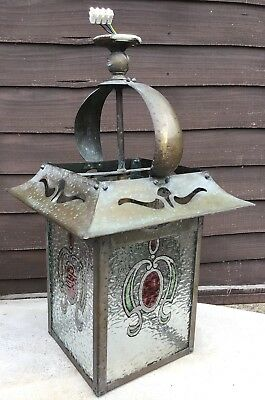 Large Arts &Crafts Brass And Leaded Stained Glass Electric Lantern