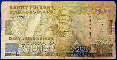 1993 Madagascar 5000 Ariary / 2500 Francs Paper Banknote x1