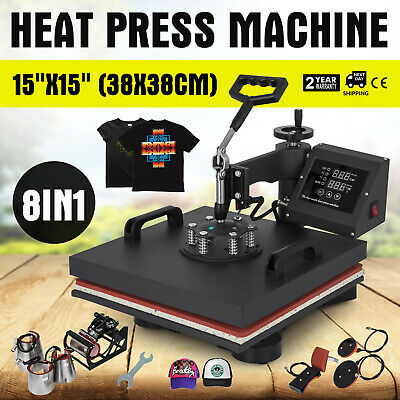 "15""x15"" 8IN1 Combo T-Shirt Heat Press Machine 38x38cm Printing Digital GOOD"
