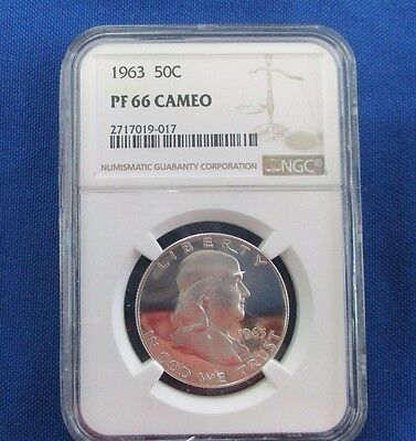 1963 Franklin Silver Proof Half-Dollar NGC Graded PF66 Cameo, 2717019-017