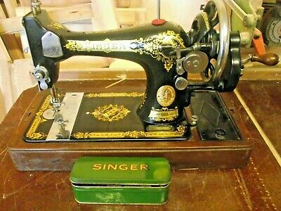 Vintage Singer Hand Operated Sewing Machine with Case and Accessories