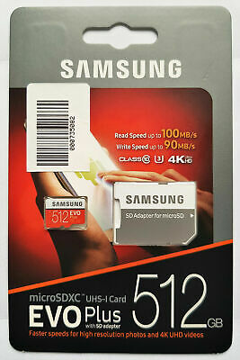 Samsung Evo Plus 512 GB Micro SD Speicherkarte Class 10 + SD Adapter