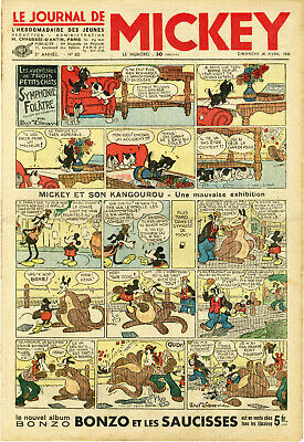 """LE JOURNAL DE MICKEY N° 80 (26/4/1936)+insert ROBINSON"" Mickey et son Kangourou"