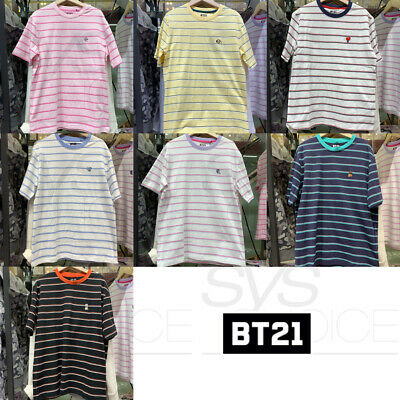 BTS BT21 Official Authentic Goods Striped Short Sleeve T-Shirt by Line Friends