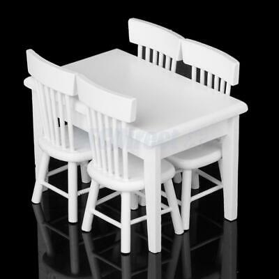 Set of Wooden Miniature Furniture Dining Table and 4 Chairs for 1:12 Doll House