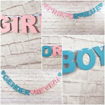 Baby Shower BANNER boy girl pink OR blue decorations bunting GENDER REVEAL