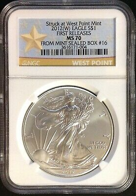"""2012(W) $1 (1oz) American Silver Eagle - NGC MS70 """"First Releases"""""""
