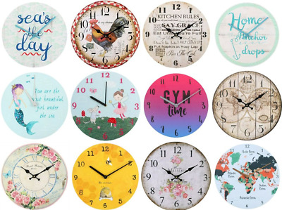 Novelty Vintage Rustic Retro Shabby Chic Wall Clocks floral map sea 20 styles