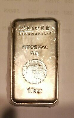 10 Ounce Silver Bar by Geiger Edelmetalle 999 Fine and Sealed