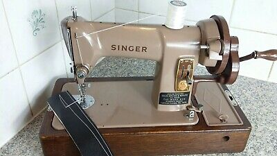 Vintage Hand Crank Singer Sewing Machine 185K, serviced by expert