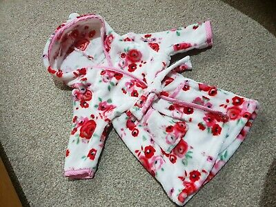 Stunning Baby Girl Dressing Gown 0-3months Tu Cosy Warm White Floral pretty red