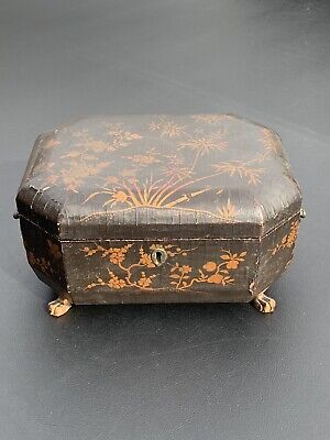 19th Century Lions Paw Footed Chinese Lacquered Sewing Box With Inlay