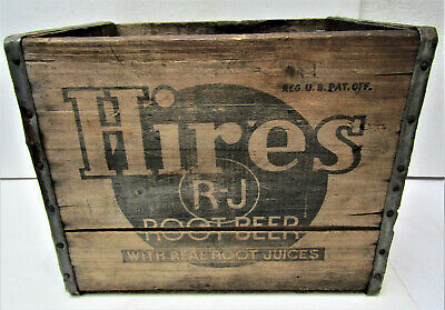 Old HIRES ROOT BEER SODA BOTTLE ADVERTISING SIGN WOOD Crate BOX