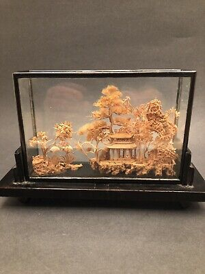 Vintage Chinese Oriental Hand-Carved Cork Diorama
