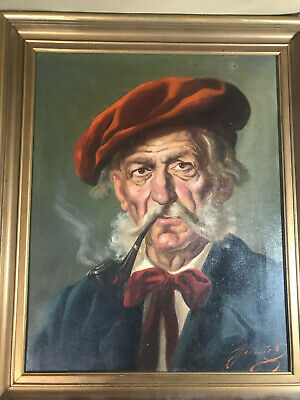 "Vintage Gussie? ""Man Smoking Pipe Scene "" Oil On Canvas - Signed And Framed"