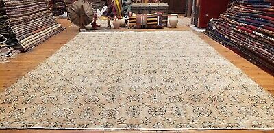 """Rare 1930-1939s Antique Wool Pile 7'3""""× 10""""4"""" Muted Dye Primitive Oushak Rug"""