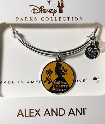 "Disney Parks Alex And Ani Belle "" Find True Beauty Within"" Silver  Bracelet"