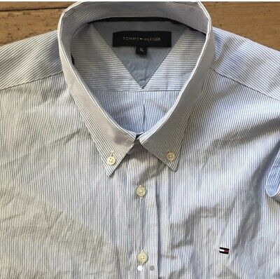 Mens Tommy Hilfiger Cotton Shirt XL Blue And White Stripped
