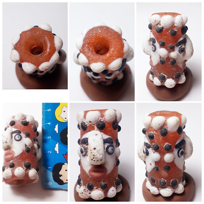 Amyxing rare Old mosaic glass double  head bead