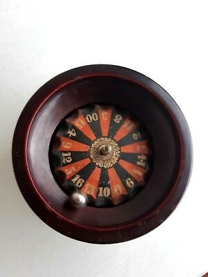 Antique Carved Turned Wooden Treen Roulette Wheel Casino Game Toy German