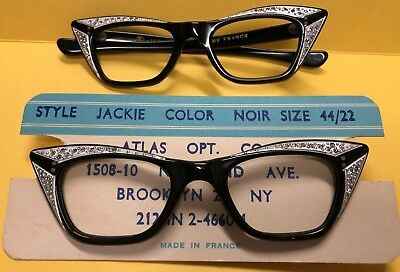"2 New Old Stock Vintage ""Jackie"" Eyeglass Frames Made in France Cat Eye"