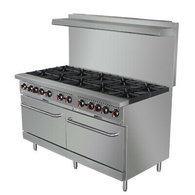 """Value Series CR10 60"""", 10 Burner Nat. Gas Range with Free Casters and Oven Rack"""