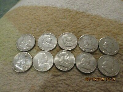 Lot of 10 Franklin Silver Half Dollars $5 Face Value 90% Silver Coins 1948 -1963