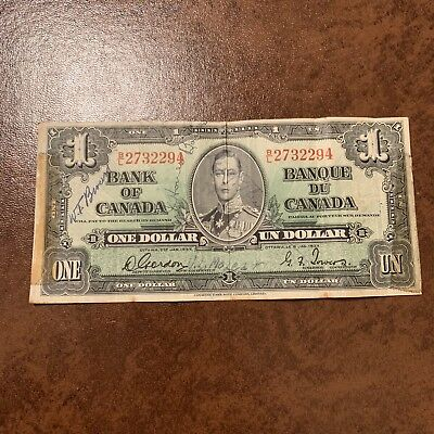1937 Canadian One Dollar Bill Bl 2732294 1 Bank Note 2nd