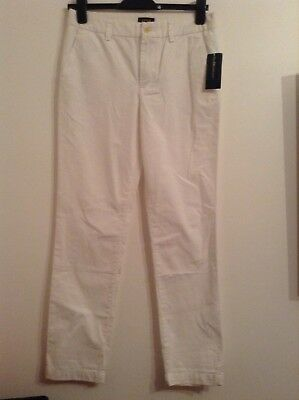 BNWT 100% Auth RALPH LAUREN Boys / Mens White Chinos trousers. 18 Yrs. / W28
