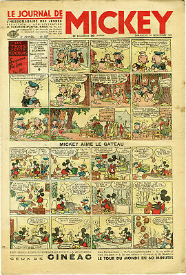 """LE JOURNAL DE MICKEY N° 107 (1/11/1936)"" Mickey aime le gateau"