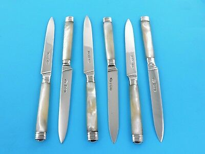 Stylish Set 6 SILVER & MOTHER-of-PEARL DESSERT KNIVES London 1901/2 fruit eaters