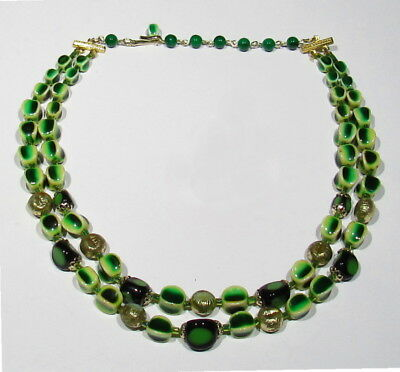 "Fine Vintage 1940s 2 Strand Green & Gold Blk Glass Bead Necklace 18"" from JAPAN"