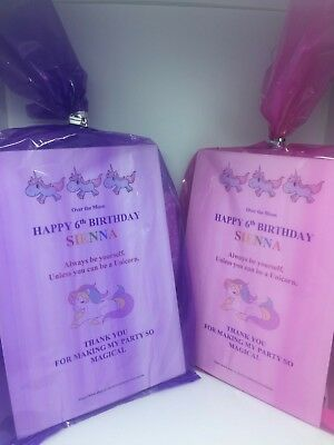 Unicorn Pre filled party loot bags personalised birthday party kids girls & boys