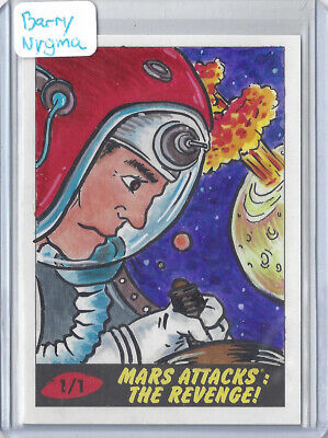 2017 Topps Mars Attacks The Revenge 1/1 Sketch Card by Barry Nygma - Astronaut