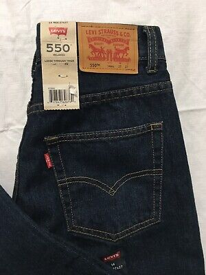 Levis 550 Jeans Boys 14 Reg 27x27 Tapered Leg Relaxed Fit Loose Blue Denim NWT