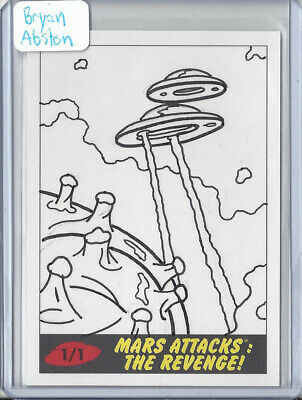 2017 Topps Mars Attacks The Revenge 1/1 Sketch Card by Bryan Abston - Saucers